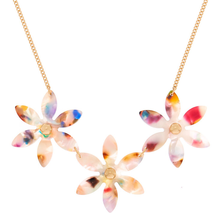 Resin Painted Flower Statement Necklace,