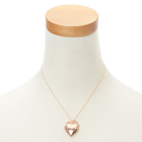Rose Gold-Tone Mom Heart Locket Necklace,