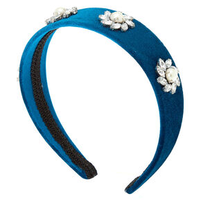 Velvet Floral Stone Headband - Teal,