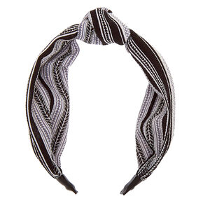 Aztec Knotted Headband - Black,
