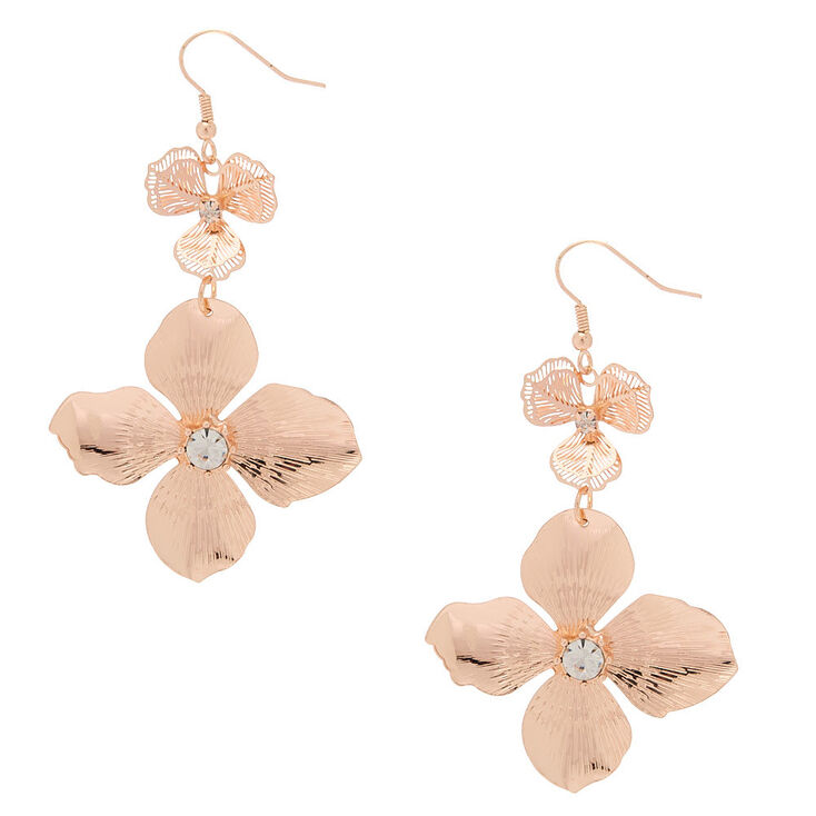 "2.5"" Rose Gold Flower Drop Earrings,"