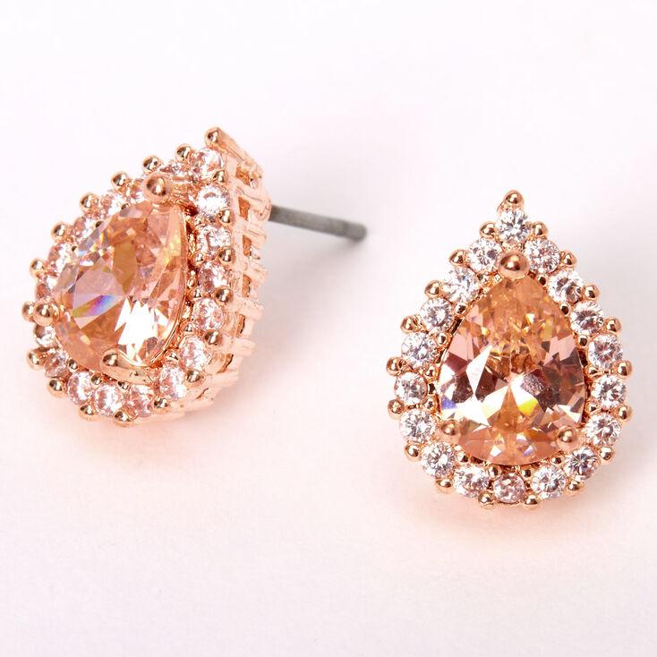 Rose Gold Cubic Zirconia Silk Stone Teardrop Halo  Stud Earrings,