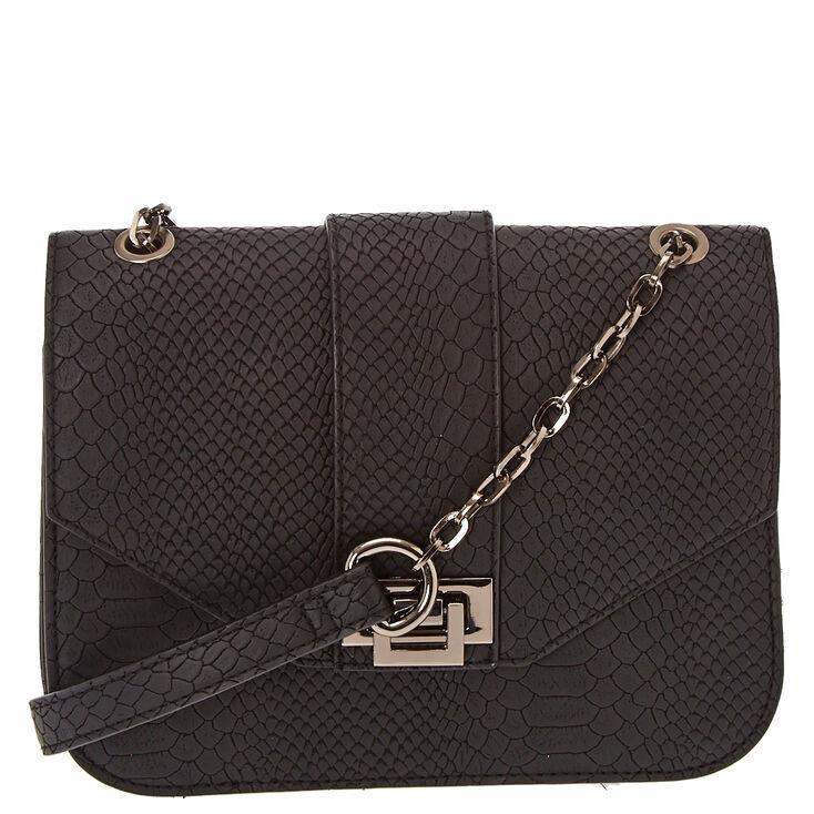 Black Squared Snake Skin Crossbody Bag,