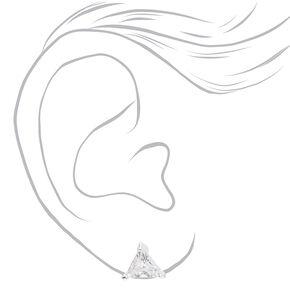 Silver Cubic Zirconia Triangle Stud Earrings - 8MM,
