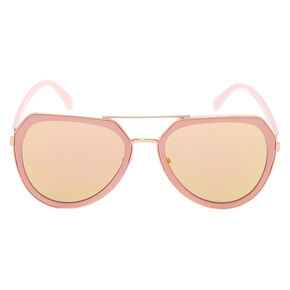 Rose-Gold Aviator Sunglasses - Pink,