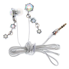Silver Glam Earbuds,