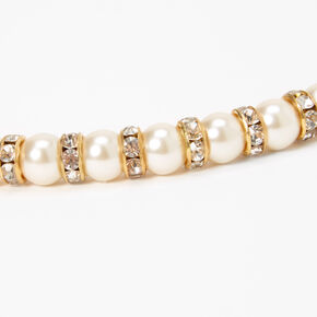 Gold Pearl Embellished Ribbon Headband,