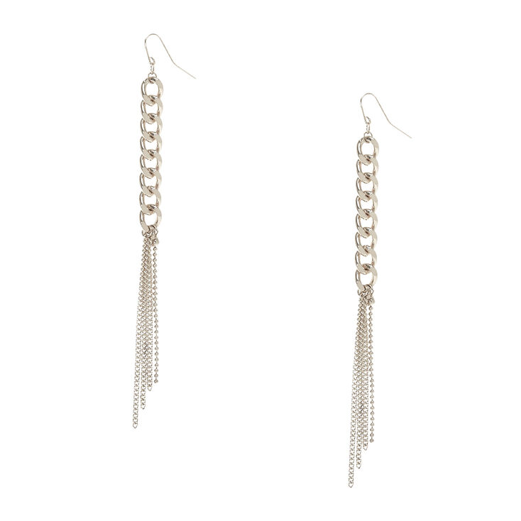 Silver Tone  Chain Link & Fringe Drop Earrings,