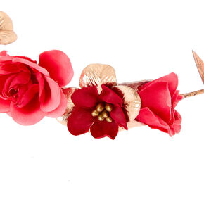 Rose Gold Flower Crown Tie Headwrap - Pink,