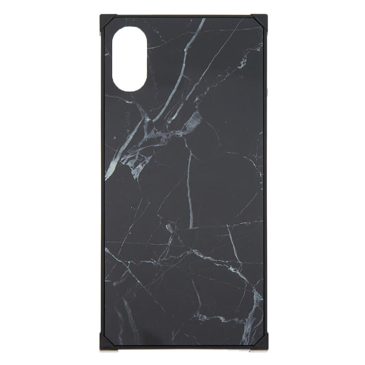 Black Marble Square Phone Case - Fits iPhone X/XS,