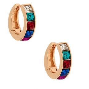 Gold 12MM Rainbow Hoop Earrings,
