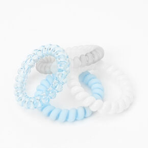 Pastel Blues Spiral Hair Ties - 4 Pack,