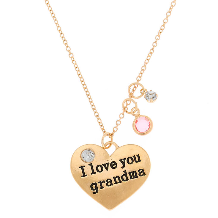 Gold I Love You Grandma Pendant Necklace,