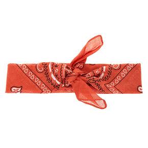 Paisley Print Bandana Headwrap - Rust,