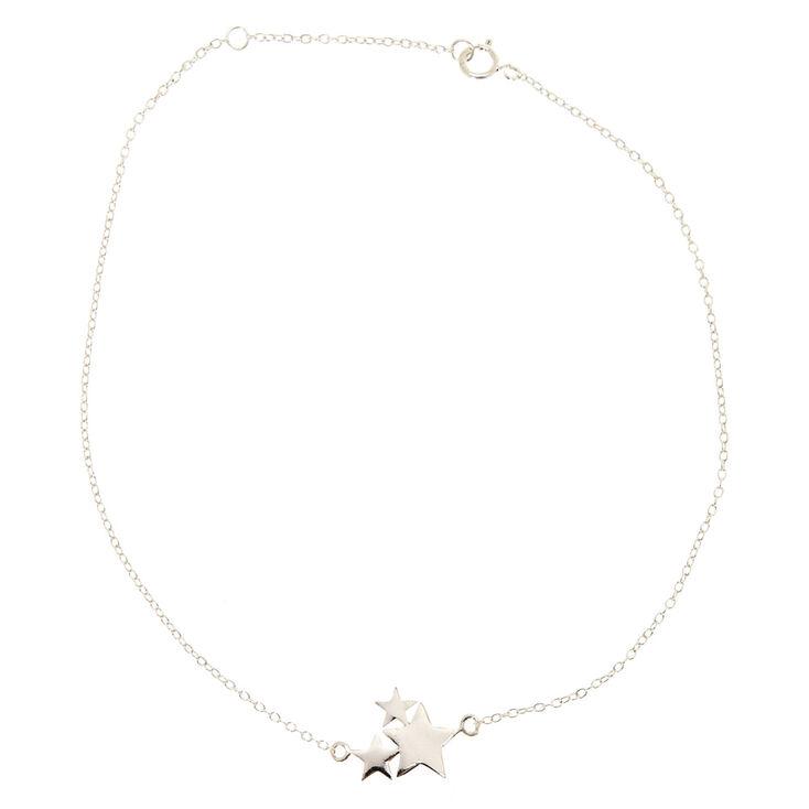925 Sterling Silver Star Cluster Anklet,
