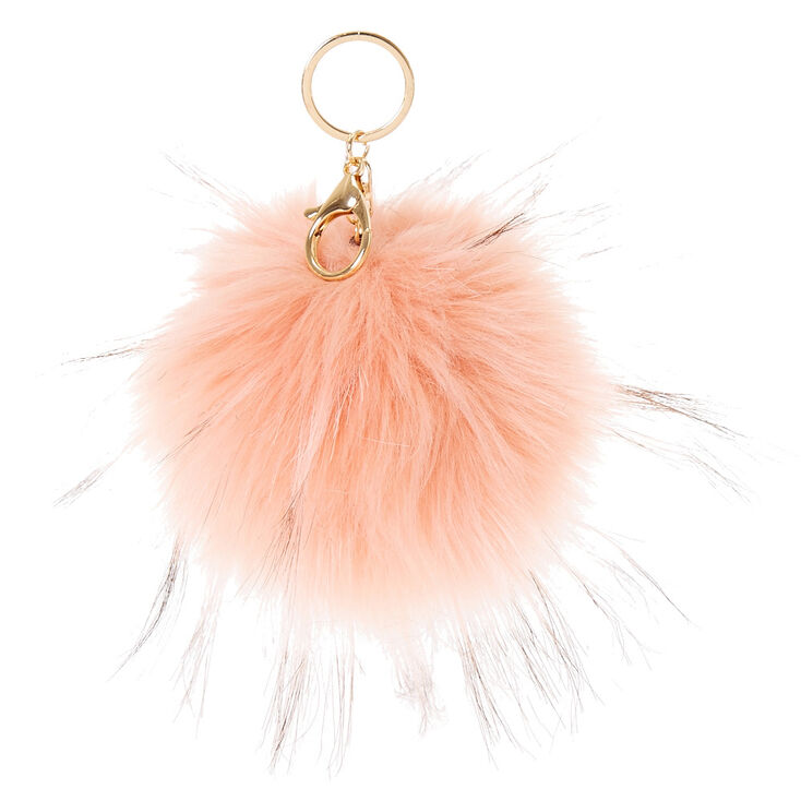 Pink Blush Faux Fur Pom Keyring,