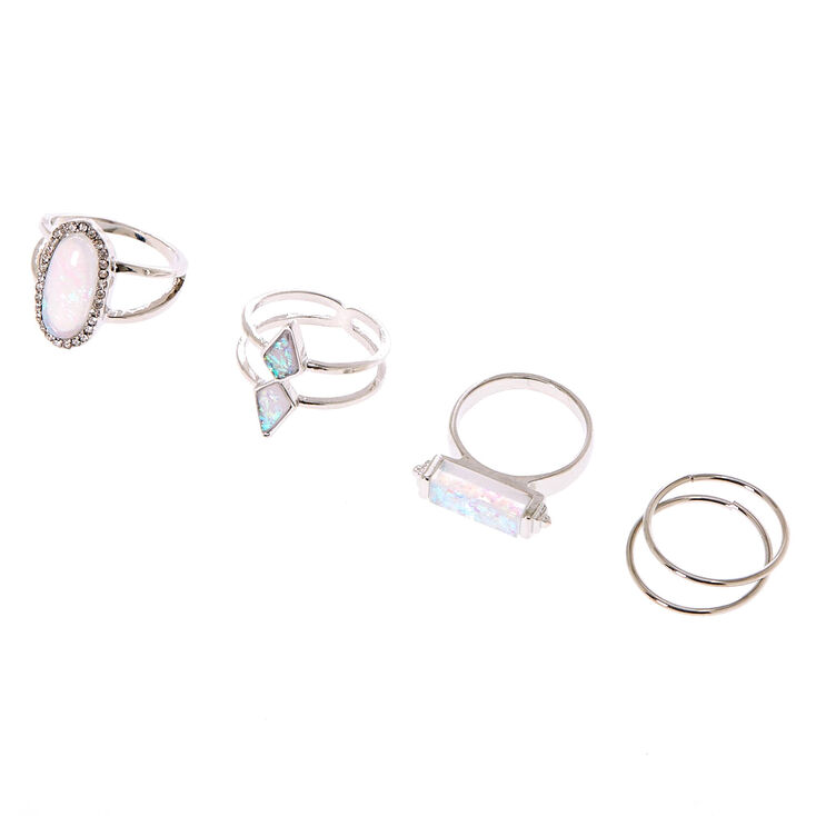 Geometric Holographic Stone Rings - 5 Pack,