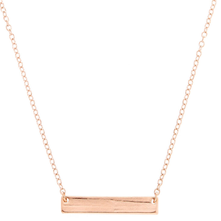 Rose Gold-Tone Bar Pendant Necklace,