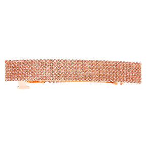 Rose Gold Rhinestone Rectangle Hair Barrette,