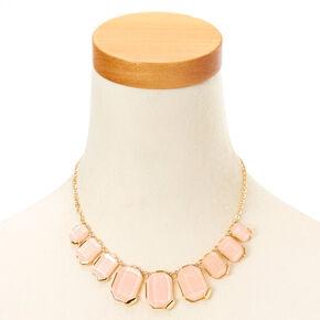 Blush & Gold-Tone Chunky Gem Statement Necklace,