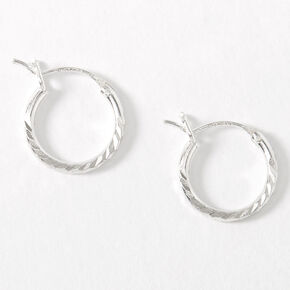Sterling Silver 10MM Textured Hinge Hoop Earrings,