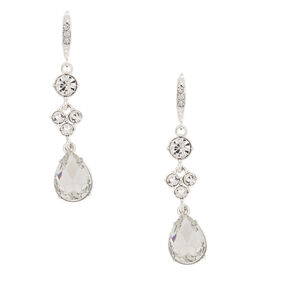"Silver Rhinestone 2"" Linear Teardrop Drop Earrings,"