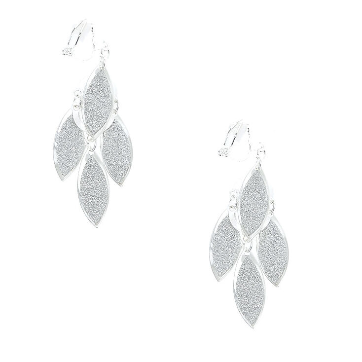 Silver Glitter Cascading Leaves Clip On Drop Earrings,
