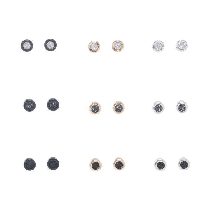 Mixed Metal Glitter Mini Stud Earrings,