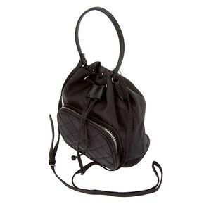 Nylon Mini Bucket Crossbody Bag - Black,