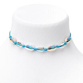 Tie Dye & Silver Cowrie Shell Choker Necklace - Blue,