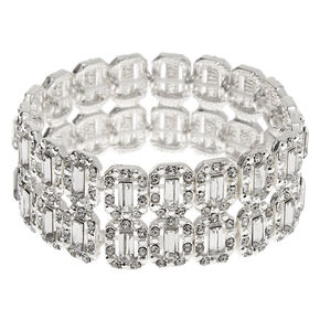 Silver Rhinestone Double Row Stretch Bracelet,