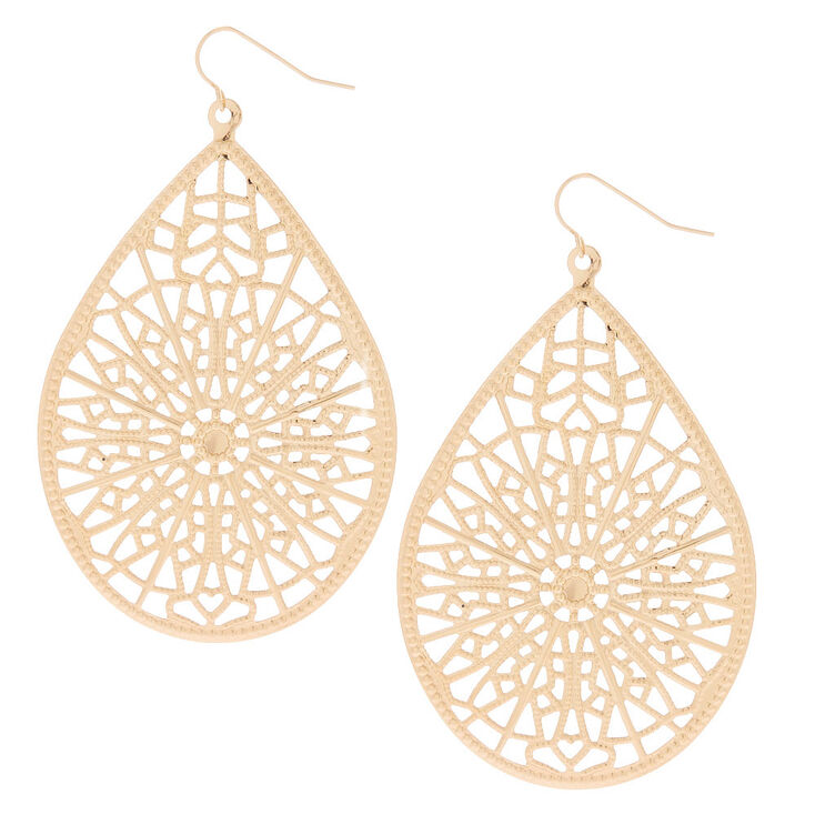 "Gold 3"" Teardrop Drop Earrings,"