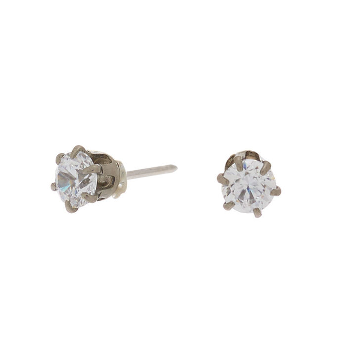 Silver Titanium Cubic Zirconia Round Stud Earrings - 3MM,