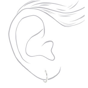 Silver 15MM Textured Hoop Earrings - 6 Pack,