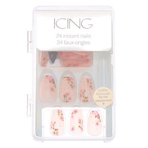 Floral Matte Coffin Faux Nail Set - Pink, 24 Pack,