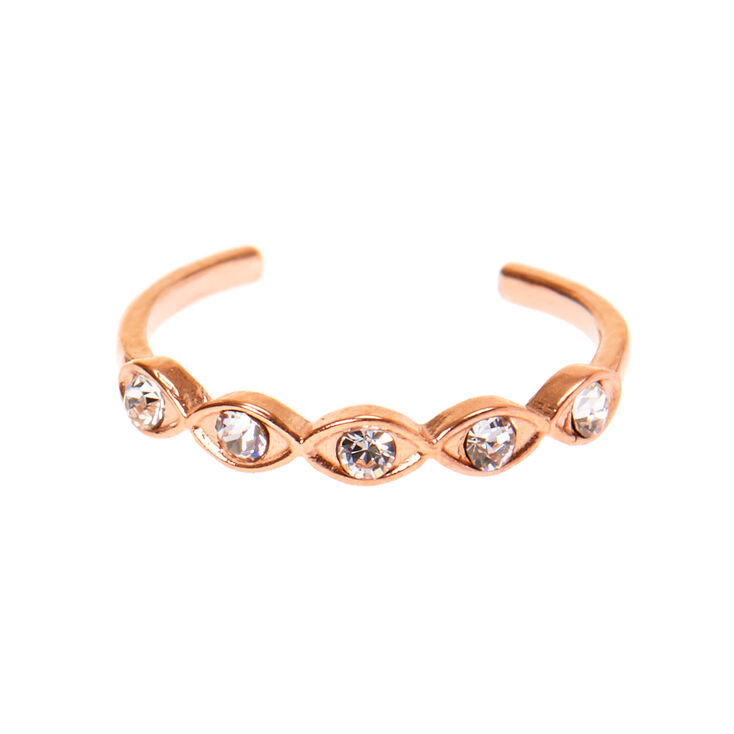 Sterling Silver Rose Gold Almond Crystal Toe Ring,