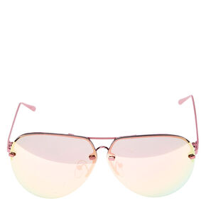 Rimless Aviator Sunglasses - Pink,