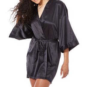 Black Satin & Crystal Maid of Honor Robe,