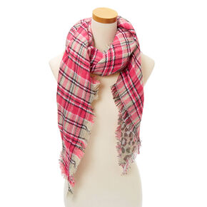 Plaid & Leopard Reversible Oversized Scarf - Pink,