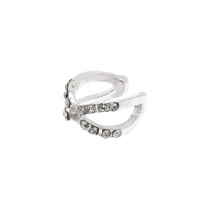 Silver Criss-Cross Embellished Ear Cuff,