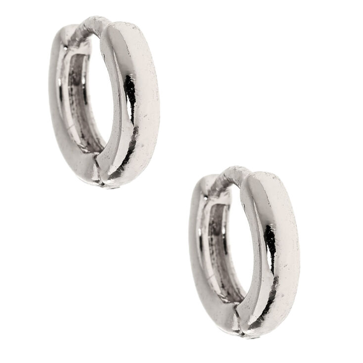 Silver 10MM Huggie Hoop Earrings,