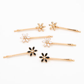 Gold Floral Bobby Pins - 6 Pack,