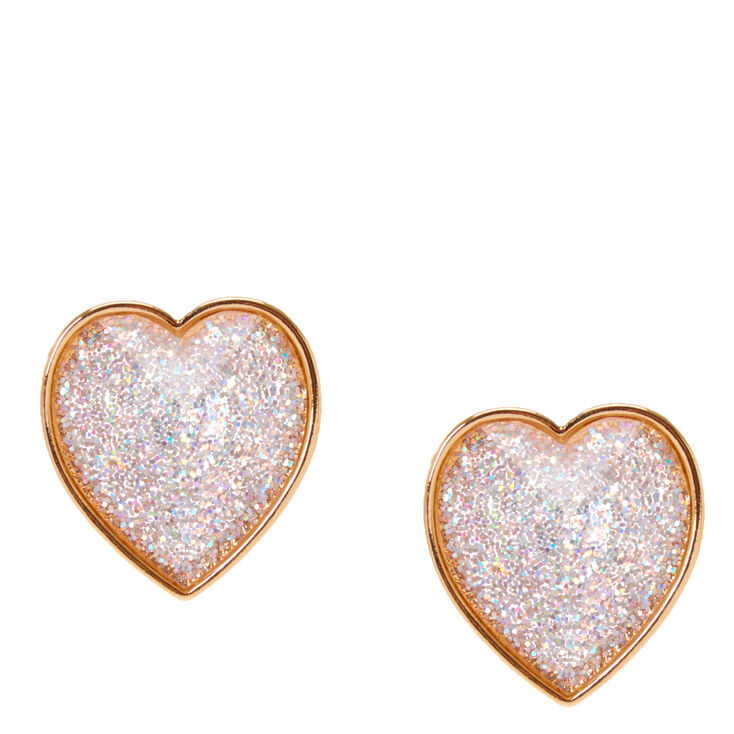 Pink Glitter Heart Domed Stud Earrings,