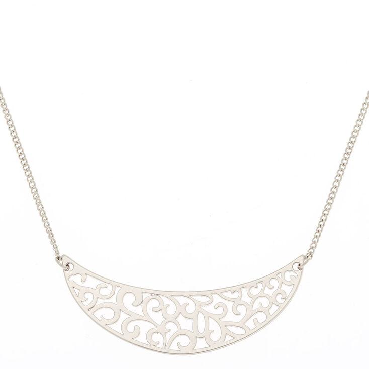 Silver Filigree Half Moon Pendant Necklace,