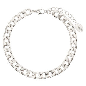 Silver Curb Chain Anklet,