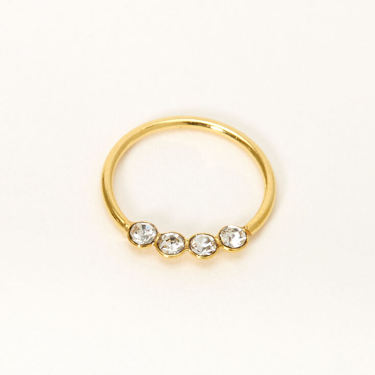 Gold Sterling Silver 22G Four Crystal Hoop Nose Ring,