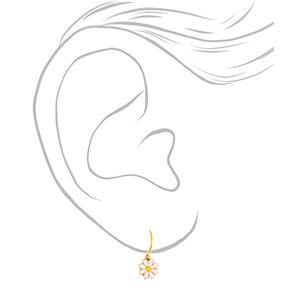Gold 10MM Daisy Charm Hoop Earrings,