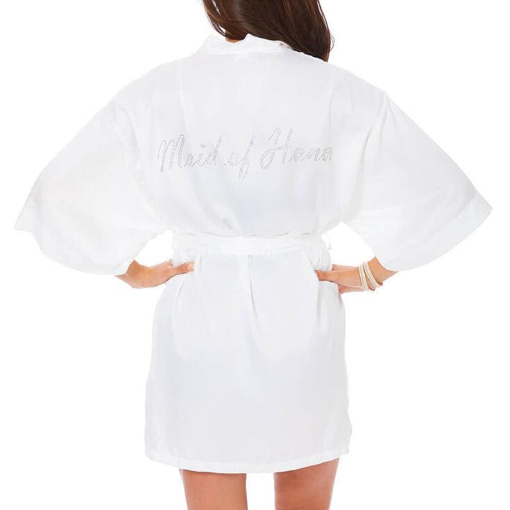 White Satin & Crystal Maid of Honor Robe,