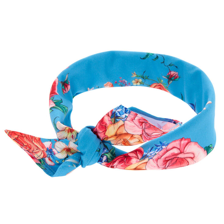 Rose Tie Bandana Headwrap - Blue,