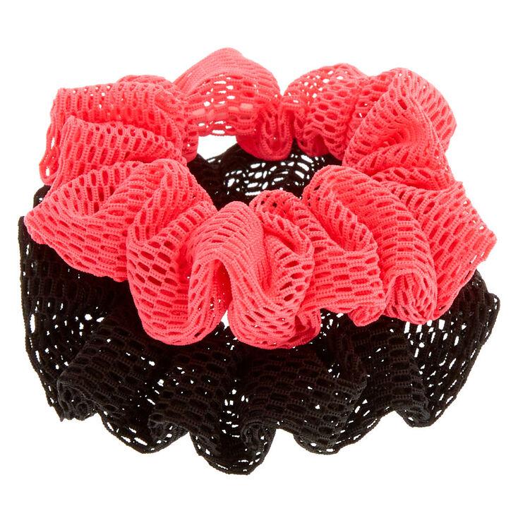 Pink & Black Sport Hair Scrunchies,